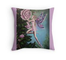 Pink rose fairy . Throw Pillow