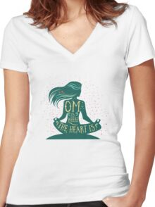Om is Where the Heart is Women's Fitted V-Neck T-Shirt