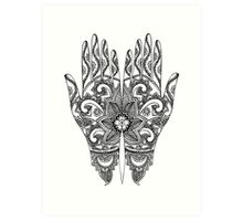 Mehndi Tattoo Hands | Black & White Art Print