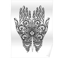 Mehndi Tattoo Hands | Black & White Poster