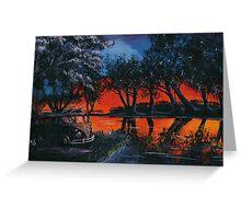 Red Sky Camper Van Painting Greeting Card