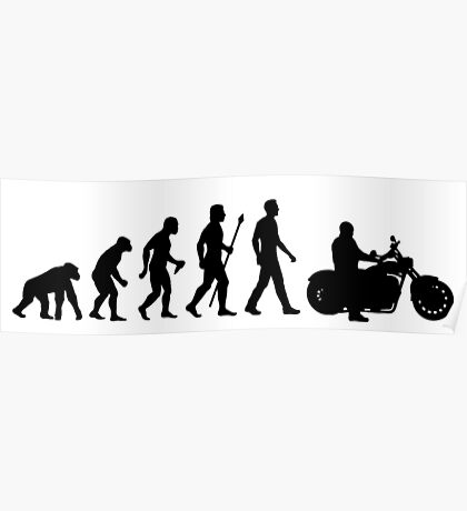 Evolution of Man Motorcycle Poster