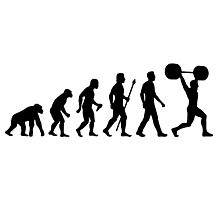 Funny Weightlifting Evolution Shirt Photographic Print