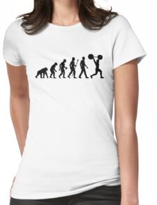 Funny Weightlifting Evolution Shirt Womens Fitted T-Shirt