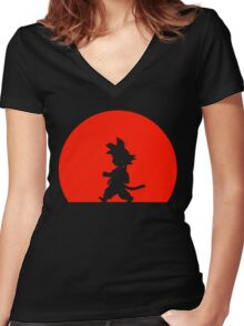 Little Saiyan Women's Fitted V-Neck T-Shirt