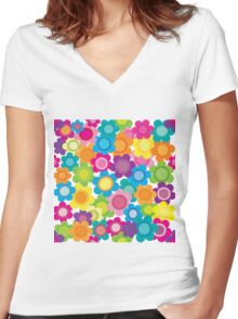 Jeweltone Seamless Flower Pattern Women's Fitted V-Neck T-Shirt