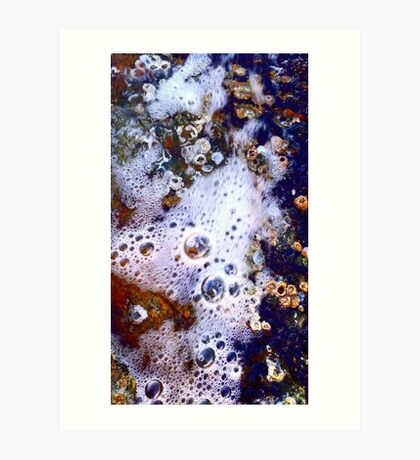 White Bubbles, Blue and Red Art Print