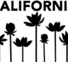 California license plate with flowers in black  Sticker