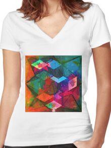 Isometric Tangles Women's Fitted V-Neck T-Shirt