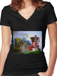 Mad Hatter - Hatters House Women's Fitted V-Neck T-Shirt