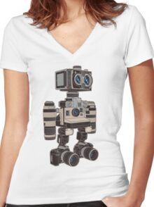 Camera Bot 6000 Women's Fitted V-Neck T-Shirt