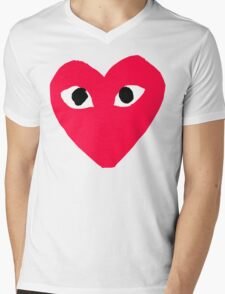 CDG Red Mens V-Neck T-Shirt