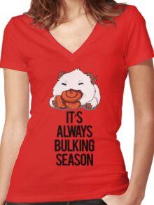 Poro Bulking Season (Black) Women's Fitted V-Neck T-Shirt