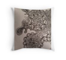 Mandala trippy melt geometric flower energy Throw Pillow