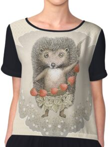 Animal Hedgehog Strawberry Chiffon Top