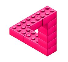 Escher Toy Bricks - Pink Photographic Print