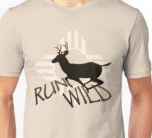 """""""RUN WILD"""" with Running Buck Deer Silhouette & Tribal Sun . Unisex T-Shirt"""