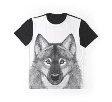 Grey Scale Wolf Portrait Graphic T-Shirt