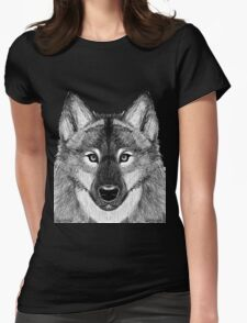 Grey Scale Wolf Portrait Womens Fitted T-Shirt