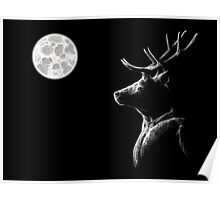 Stag in Moonlight Poster