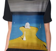 SURREALISM - Fetal Position At Crowded Beach Chiffon Top