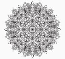 Mandala Line Art - Flower Mandala, Yoga, Spiritual, Black and White, Detailed Coloring One Piece - Short Sleeve