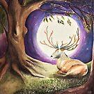 Deer in the moon by Kylie McCaffrey