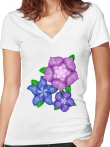 Purple blossoms Women's Fitted V-Neck T-Shirt