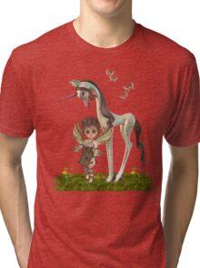Unicorn and Cute fairy Tri-blend T-Shirt