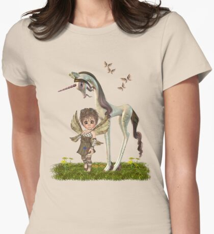 Unicorn and Cute fairy Womens Fitted T-Shirt