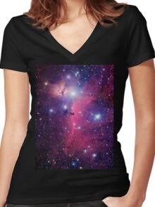 Purple Galaxy Women's Fitted V-Neck T-Shirt