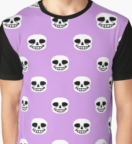 Undertale Sans Pattern - Pastel Purple Graphic T-Shirt
