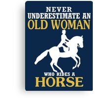 Old Woman Rides Horse Canvas Print