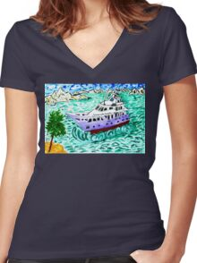Modern Yacht Watercolor Women's Fitted V-Neck T-Shirt