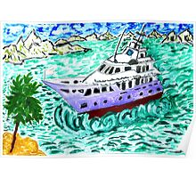 Modern Yacht Watercolor Poster
