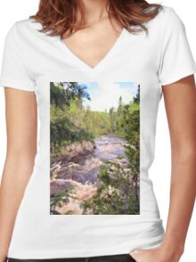 The Brule River Women's Fitted V-Neck T-Shirt