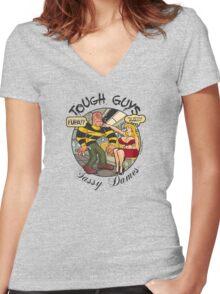 Tough Guys & Sassy Dames: Dynamo Joe & Fupa Von Moyst Women's Fitted V-Neck T-Shirt