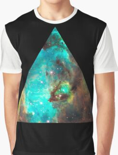 Green Galaxy Triangle Graphic T-Shirt