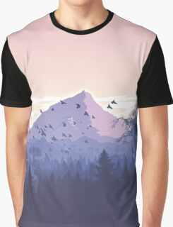 Beautiful Pink Sunset Mountains Trees Nature Landscape Graphic T-Shirt
