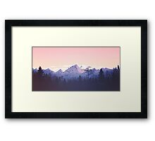 Beautiful Pink Sunset Mountains Trees Nature Landscape Framed Print