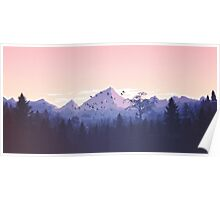 Beautiful Pink Sunset Mountains Trees Nature Landscape Poster