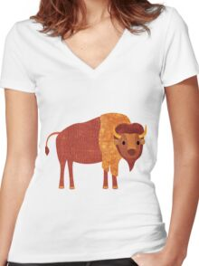 B is for Bison Women's Fitted V-Neck T-Shirt