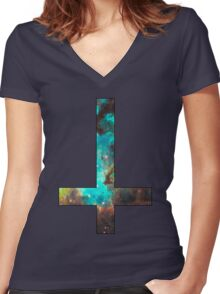 Green Galaxy Inverted Cross Women's Fitted V-Neck T-Shirt