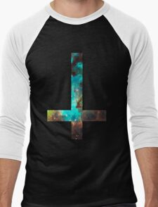 Green Galaxy Inverted Cross Men's Baseball ¾ T-Shirt