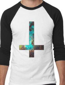 Green Galaxy Inverted Cross Men's Baseball ¾ T-Shirt