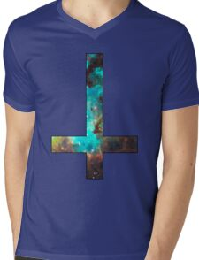 Green Galaxy Inverted Cross Mens V-Neck T-Shirt