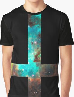Green Galaxy Inverted Cross Graphic T-Shirt