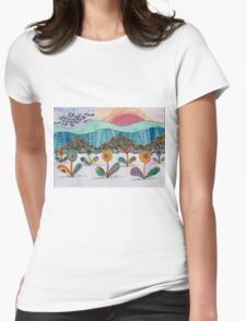 Paisley Daisy Sunset Womens Fitted T-Shirt
