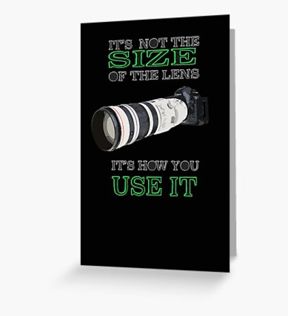 the size of the lens 3 Greeting Card