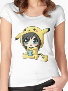 Cute Pikachu Pajama Women's Fitted Scoop T-Shirt